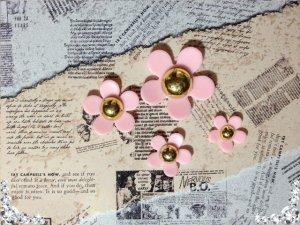 画像1: 可愛いお花のパーツ ピンク4種類1セット