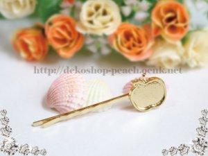 画像1: 【単品】りんご型/ミール皿付きヘアピン/ゴールド 1本