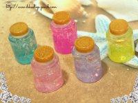 【単品】樹脂製■小瓶■キララメプラパーツ5色有り