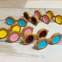 【単品】木製風 丸いサングラス プラパーツD3-6