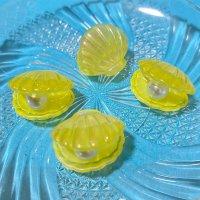 【イエロー5個入り】立体オーロラ ■貝殻■パール入り 5個入りW-03