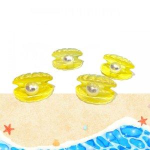画像4: 【イエロー5個入り】立体オーロラ ■貝殻■パール入り 5個入りW-03